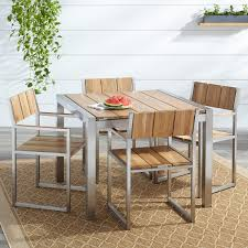 Macon 5 Piece Square Teak Outdoor Dining Table Set Natural Teak