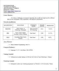 Simple Sample Resume Format For Freshers Gentileforda Com