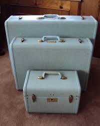 Vintage Powder Blue Speckled Tweed Samsonite Luggage.