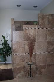 unique design half height wall walk in shower