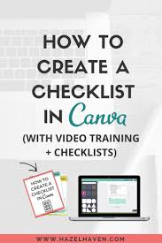 How To Create A Checklist In Canva With Video Training Checklists