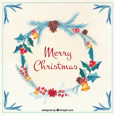 Thousands of new christmas cards png image resources are added every day. Free Vector Merry Christmas Card With Watercolor Pretty Floral Wreath