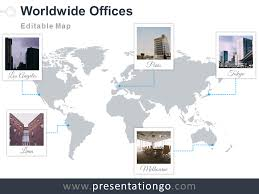 Editable World Map For Powerpoint World Map Offices Powerpoint Template Presentationgo