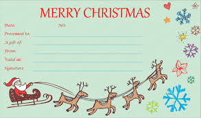 Flying Reindeer Christmas Gift Certificate Template