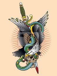 Fototapeta Orel A Had Tetování Barva