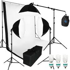 3x photograpy softbox photo studio boom stand continuous lighting kit
