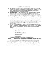 Newspaper Book Report Template Newspaper Book Review Format