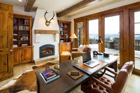 wooden home office. Rustic Home Office With Woden Floor, Wooden Table Brown Leather Chair, Shelves,