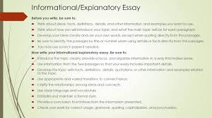mrs benson george informational essay bullet points to refer to during milestones testing