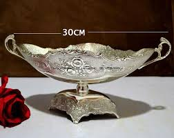 Decorative Metal Fruit Bowls High grade double layer Tempered glass fruit plate fruit cake 58