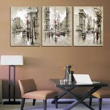 home decor canvas painting abstract city street landscape decorative paintings modern wall pictures 3 panel wall