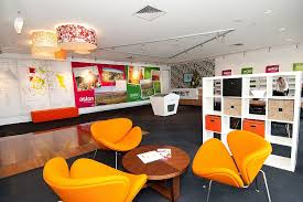 sales office design. Great Use Of Vibrant Colour For An Off Site Sales Office. Office Design