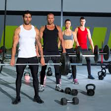 weight group gym group with weight lifting bar crossfit workout stock photo