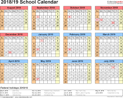 Printable School Year Calendars School Calendars 2018 2019 Free Printable Word Templates