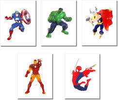 If you want to download captain marvel high quality wallpapers for your desktop, please download this wallpapers above and click «set as desktop background». Amazon Com Superhero Watercolor Prints Set Of 5 Photos 8 5 Inches X 11 Inches Posters Prints