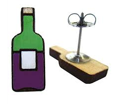 wine bottle stud earrings wine gift miniature food jewelry unique 21st birthday gift