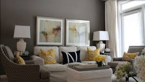 Yellow Living Room Chair Living Room Gray Sofa White Shelves Brown Chairs Gray Recliners