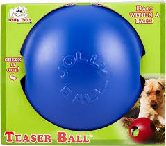 Jolly Pets Teaser Ball Dog Toy Blue 6 In