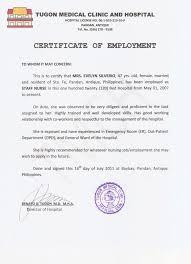 Resume Responsibilities Sample Certificate Of Employment Resume