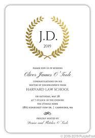 Formal Graduation Announcement Gold Foil Formal Wreath Law School Graduation Invitation