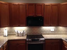 Kitchen Backsplash Glass Tile Dark Cabinets 56231 Texasismyhomeus
