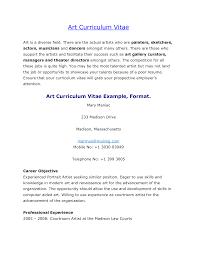 Resume Sample Artist Resume