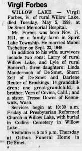 Obituary for Virgil Forbes, 1921-1998 (Aged 76) - Newspapers.com