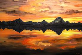 landscape painting sunset over jackson lake and the grand tetons by connie tom