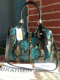 "NWT BRAHMIN CELIA BIRD PARADISE FRONTERA ""elisa look"" SNAKE EMBOS LEATHER  BAG 