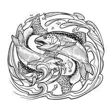 Fototapeta Znamení Ryby Dvě Ryby Skákání Z Vody Kruh Složení Dekorativní