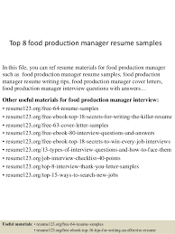 Top 8 Food Production Manager Resume Samples