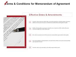 Memorandums And Letters Powerpoint Terms And Conditions For Memorandum Of Agreement Effective