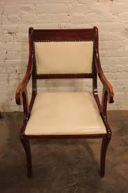 Six Vintage Regency Style Dining Chairs With White Vinyl Upholstery Regency Style Furniture S51