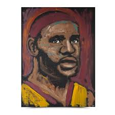 lebron james autographed inscribed tim decker original sd painting canvas
