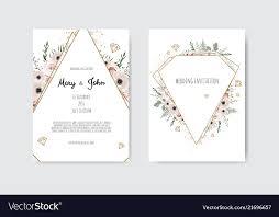 Wedding Cards Template Botanical Wedding Invitation Card Template Design Vector Image