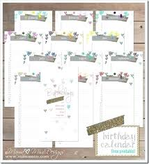birthday calendar template free download free printable monthly birthday calendar template download best of