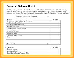 9 Balance Sheet Template Word Personal Uk Free Opening Day