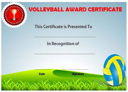 volleyball certificate template volleyball award certificate template volleyball certificates free