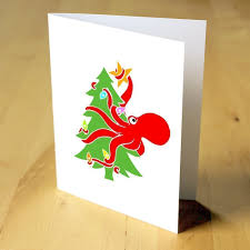 Design Holiday Cards Online Set Of 15 Octopus Holiday Cards Christmas Greeting Card