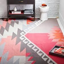 pink tribal print rug wool macaroon west elm o pink orange tribal area rug