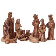 nativity set stylized olive wood from bethlehem 29 cm