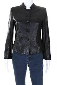 giorgio armani womens on front leather jacket black italian size 42