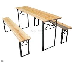 FURNITURE NA FBEERTABLE KMSWM001 Outdoor Table And Bench Sentinel Wooden  Folding Beer Set Trestle Garden Furniture