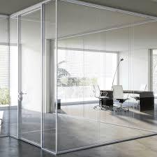 Transparent Aluminium Floor Mounted Office Divider Glass Aluminum I Wallspace