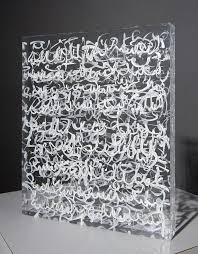 georgette benisty painting with lace on plexiglass prayer series white on white
