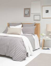 percale stripe grey duvet cover