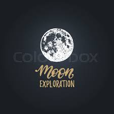 Science Poster Background Moon Exploration Handwritten Phrase Stock Vector