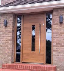 modern wooden plank design with glass sidelights