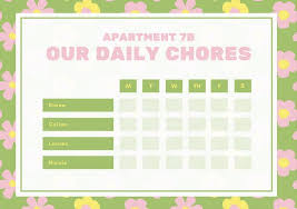 Apartment Chore Chart Green With Yellow And Pink Floral Pattern Daily Chore Chart