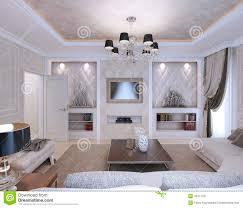 Living Room Art Deco Style Classic Style Stock Illustration - Livingroom deco